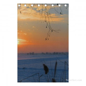 Personalized Curtain for Door Window Draperies Thick Blackout 2 Panels Wall Art Hanging Sunset at Snowland Photograph USD55 4 4 Oil Paintings
